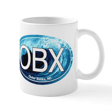 OBX Outer Banks NC Wave Oval Mug