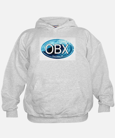 OBX Outer Banks NC Wave Oval Hoody