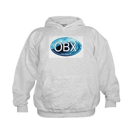 OBX Outer Banks NC Wave Oval Kids Hoodie