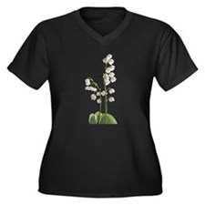 lily of Valley Women's Plus Size V-Neck Dark T-Shi