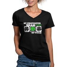 ShamROCKS (Firefighter) Womens V-Neck Dark T-Shirt