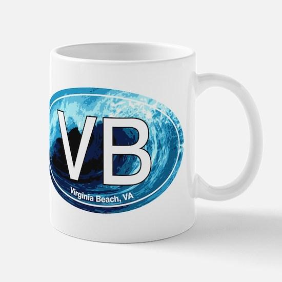 VB Virginia Beach Wave Oval Mug