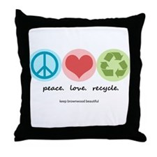 """""""peace. love. recycle"""" Throw Pillow"""