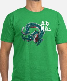 Kanji Dragon Men's Fitted T-Shirt (dark)
