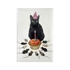 Black Cat Birthday Rats Rectangle Magnet