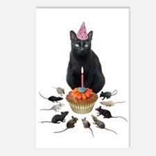Black Cat Birthday Rats Postcards (Package of 8)