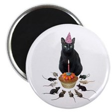 Black Cat Birthday Rats Magnet