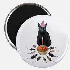 Black Cat Birthday Rats Magnet