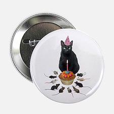 "Black Cat Birthday Rats 2.25"" Button"