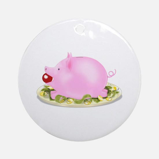 Suckling Piggy Bank Ornament (Round)