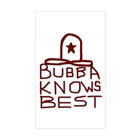 Bubba Knows Best Texas Cowboy Sticker (Rectangle)