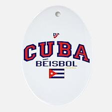 CU Cuba Baseball Beisbol Ornament (Oval)