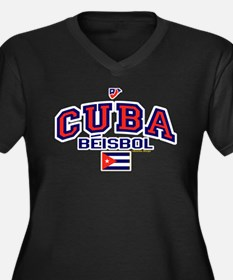 CU Cuba Baseball Beisbol Women's Plus Size V-Neck
