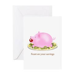 Feast on Your Savings Piggy Bank Greeting Card
