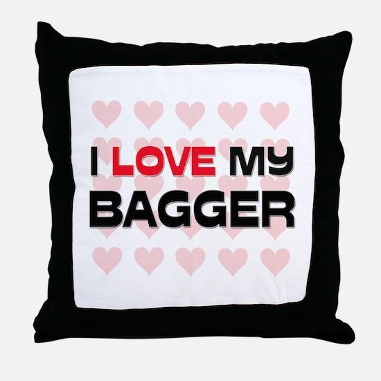I Love My Bagger Throw Pillow