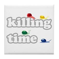 Snails Killing Time Tile Coaster