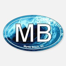 MB Myrtle Beach Ocean Wave Oval Oval Decal