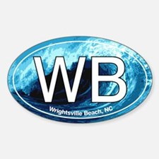 WB Wrightsville Beach Wave Oval Oval Decal