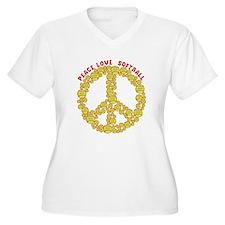 Cute Peace love softball T-Shirt
