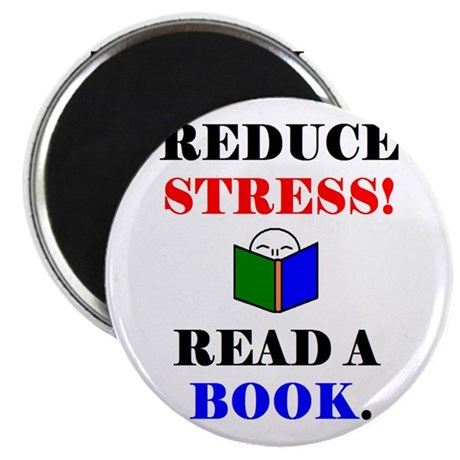 "REDUCE STRESS! READ A BOOK. 2.25"" Magnet (100 pack"
