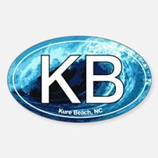 KB Kure Beach, NC Wave Oval Oval Decal