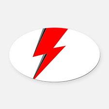 Lightning Bolt red logo Oval Car Magnet