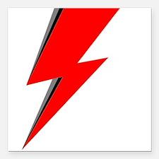 "Lightning Bolt red logo Square Car Magnet 3"" x 3"""