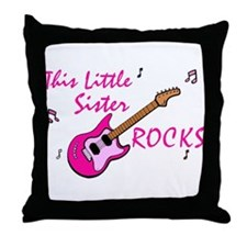 This Little Sister Rocks Throw Pillow