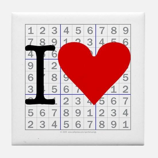 I heart Sudoku Tile Coaster