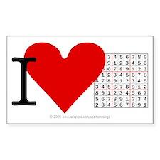 I heart Sudoku Rectangle Decal