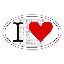 I heart Sudoku Oval Decal