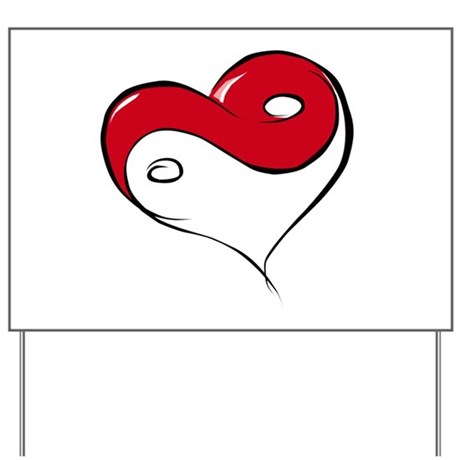 Ying Yang Heart Yard Sign