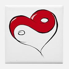 Ying Yang Heart Tile Coaster