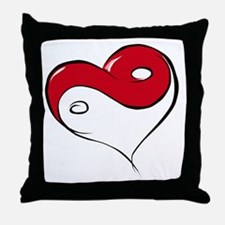 Ying Yang Heart Throw Pillow