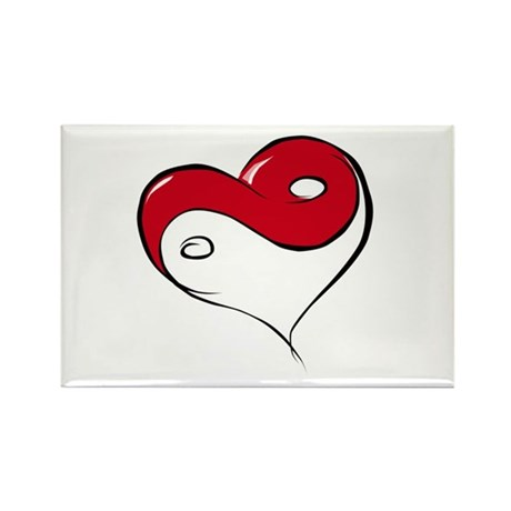 Ying Yang Heart Rectangle Magnet (10 pack)