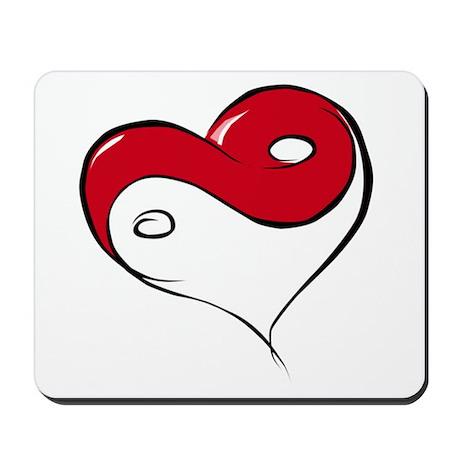 Ying Yang Heart Mousepad