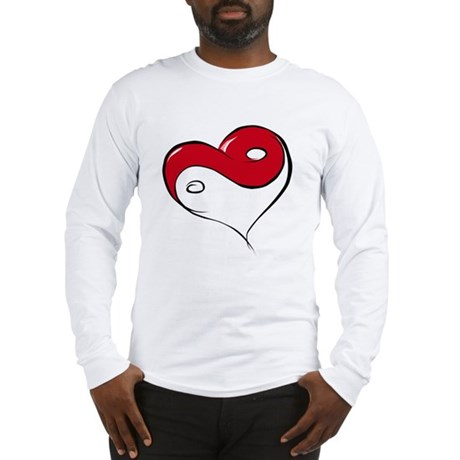 Ying Yang Heart Long Sleeve T-Shirt