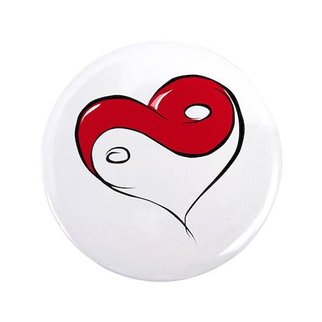 """Ying Yang Heart 3.5"""" Button"""