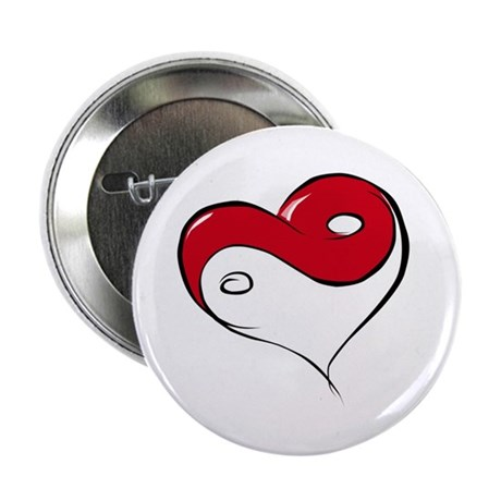 "Ying Yang Heart 2.25"" Button (100 pack)"