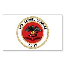 USS Samuel Gompers (AD 37) Rectangle Decal