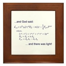 God said, let there be light (QED) Framed Tile