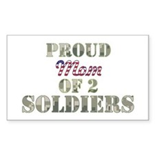 Proud Mom of 2 Soldiers Rectangle Decal