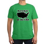 Barackin' in the USA Men's Fitted T-Shirt (dark)
