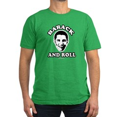 Barack and roll Men's Fitted T-Shirt (dark)