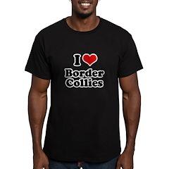 I heart Border Collies Men's Fitted T-Shirt (dark)