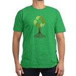 Recycling Tree Men's Fitted T-Shirt (dark)