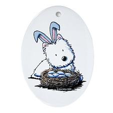 Easter Rabbit Westie Oval Ornament