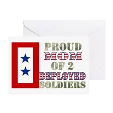 Proud Mom of 2 Deployed Soldiers Greeting Card