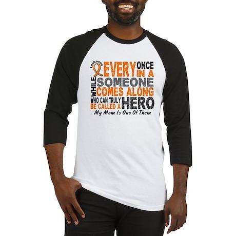 HERO Comes Along 1 Mom LEUKEMIA Baseball Jersey