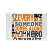 HERO Comes Along 1 Mom LEUKEMIA Rectangle Magnet (